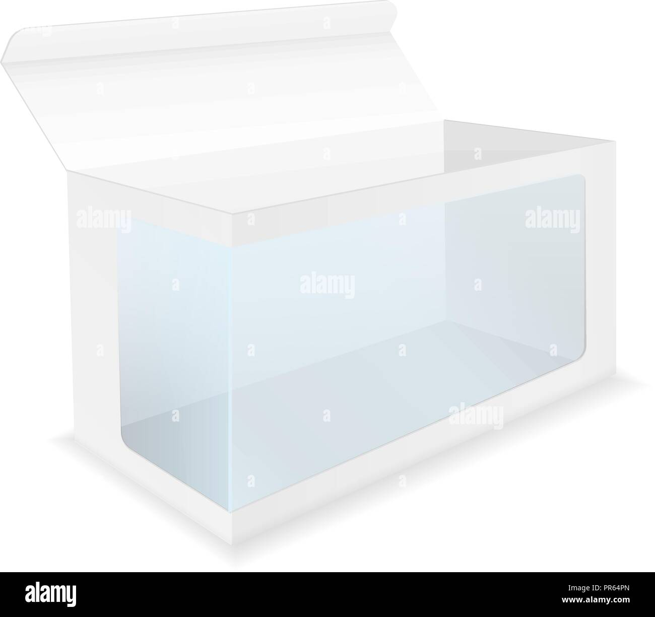 White box with transparent display window - Stock Image