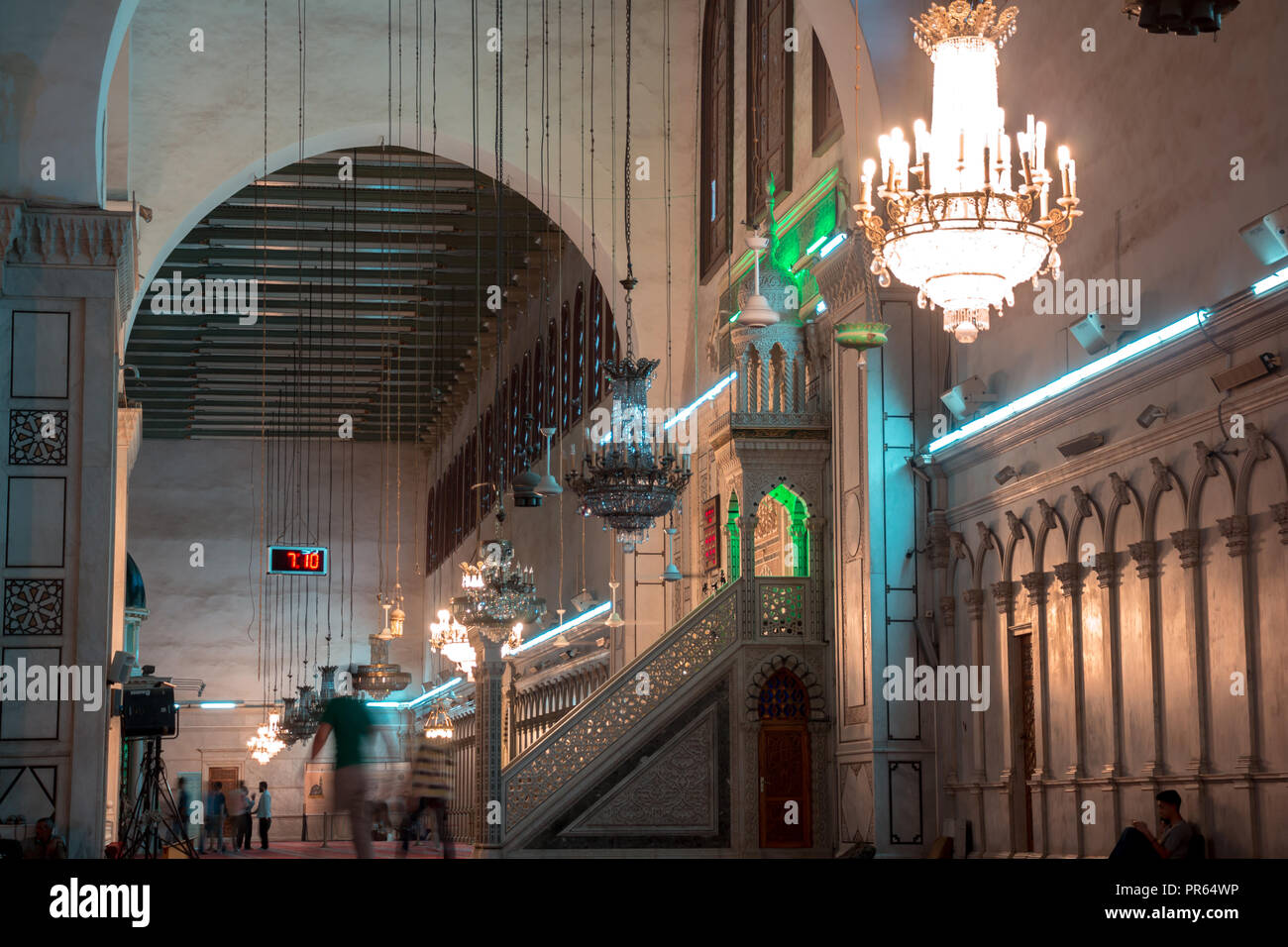 Damascus / Syria: inside the Umayyad mosque in the old city. Stock Photo