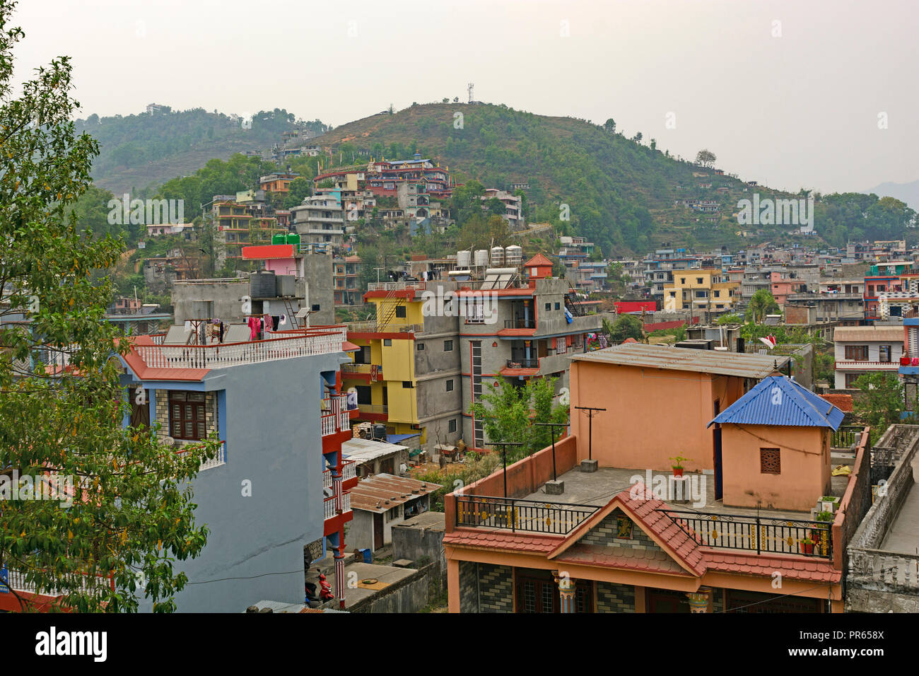 View of Pokhara, Nepal in the Foothills of the Himalayan Mountains - Stock Image