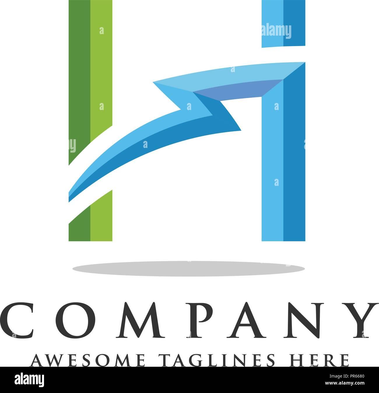 letter h lightning logo icon design template elements flash letter