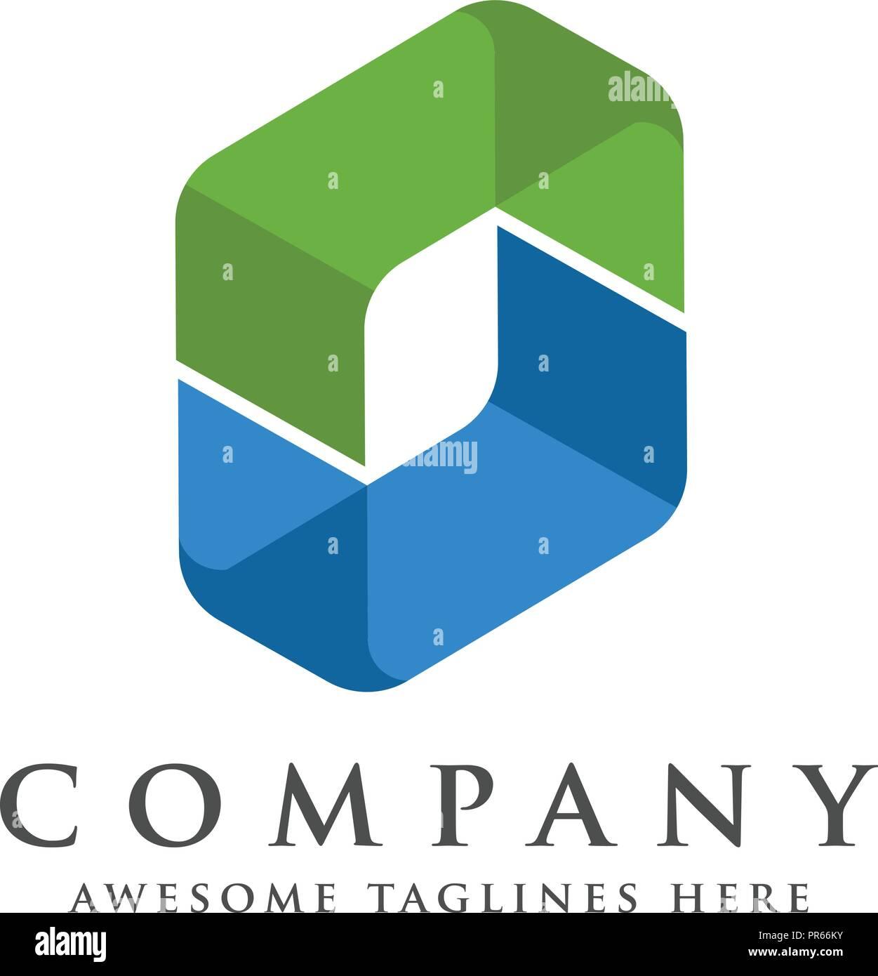 Letter O Template   Letter O Square Isometric Logo Design Vector Illustration Template