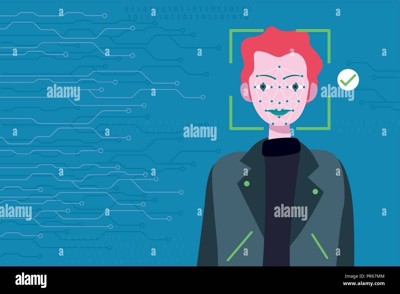 Face Recognition Technology. Scanning of a man's face of for facial recognition. - Stock Vector