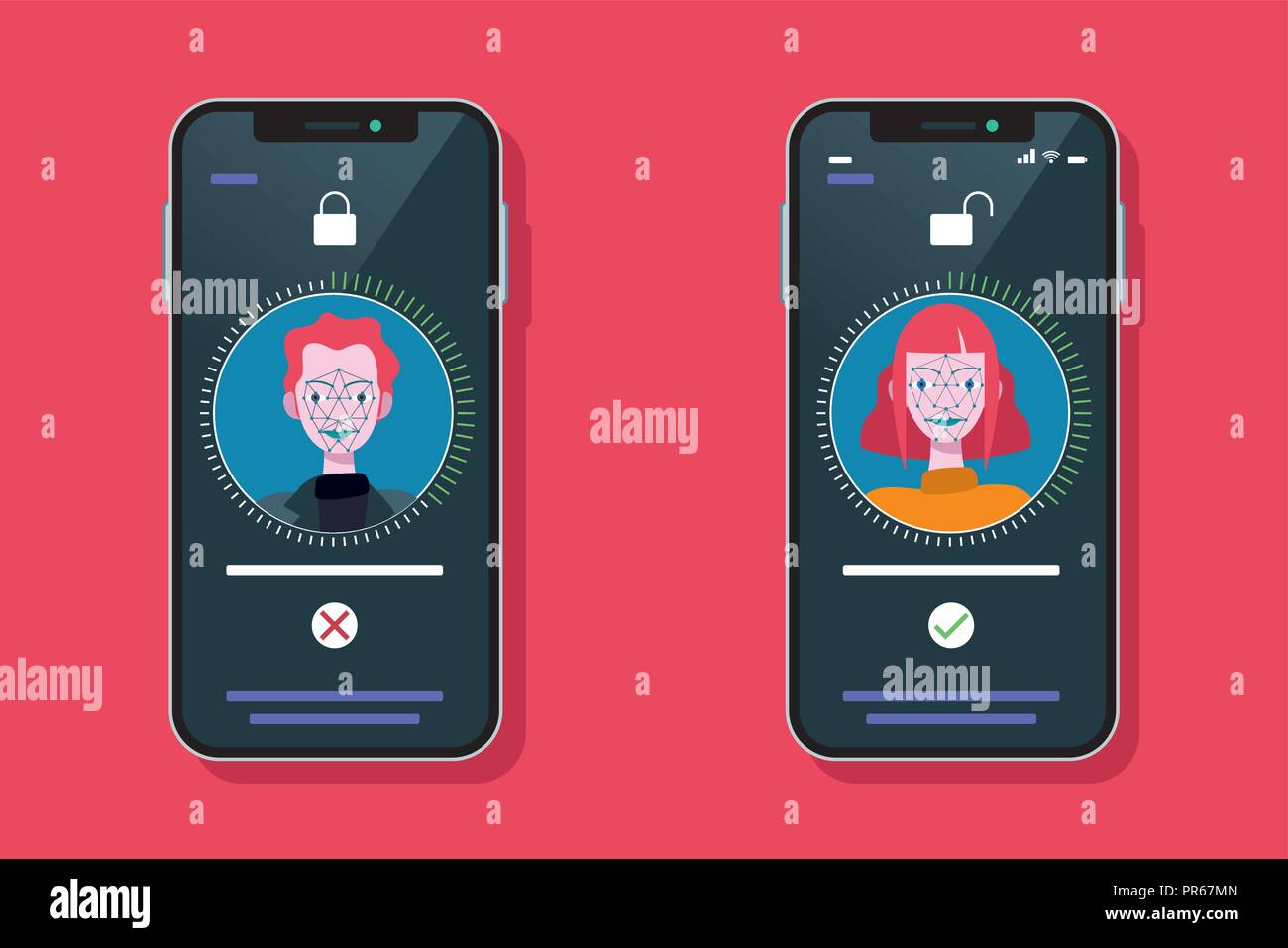 Facial Recognition Technology used with a Smart Phone. Scanning og the face of a man and a woman for facial recognition. - Stock Vector