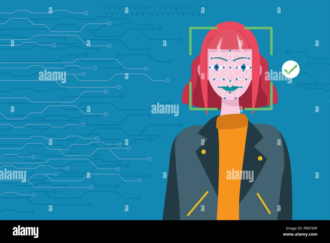 Face Recognition Technology. Scanning of a woman's face facial recognition. - Stock Vector