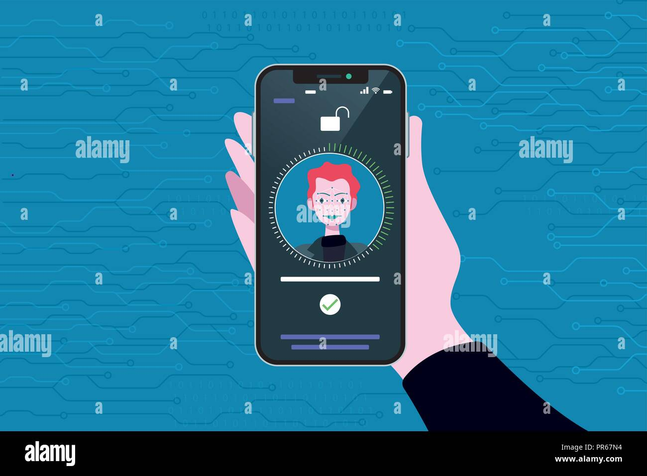 Face Recognition Technology used in a Smart Phone. Scanning og the face of a business man for facial recognition. - Stock Vector
