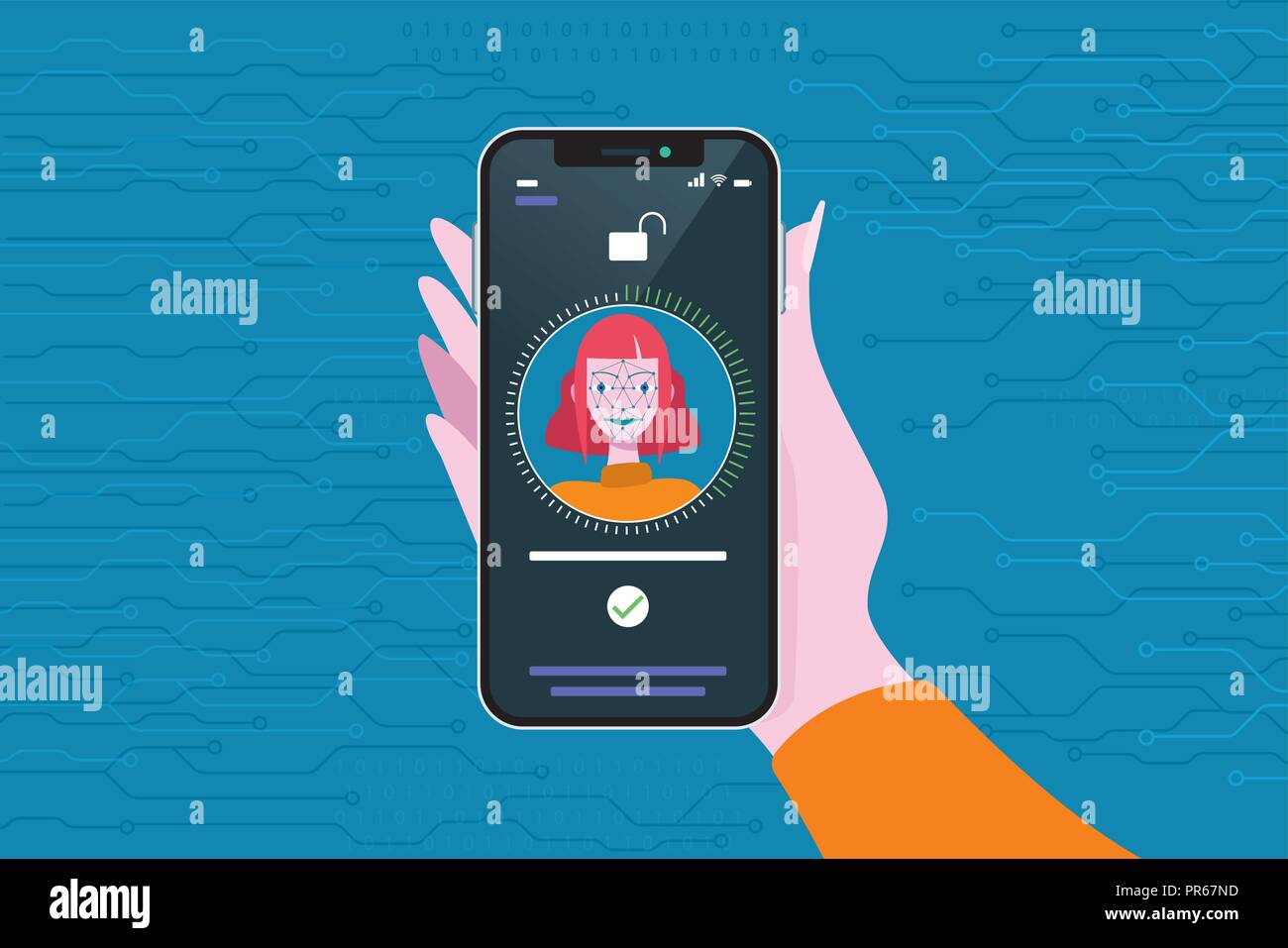 Face Recognition Technology used in a Smart Phone. Scanning og the face of a young woman for facial recognition. - Stock Vector