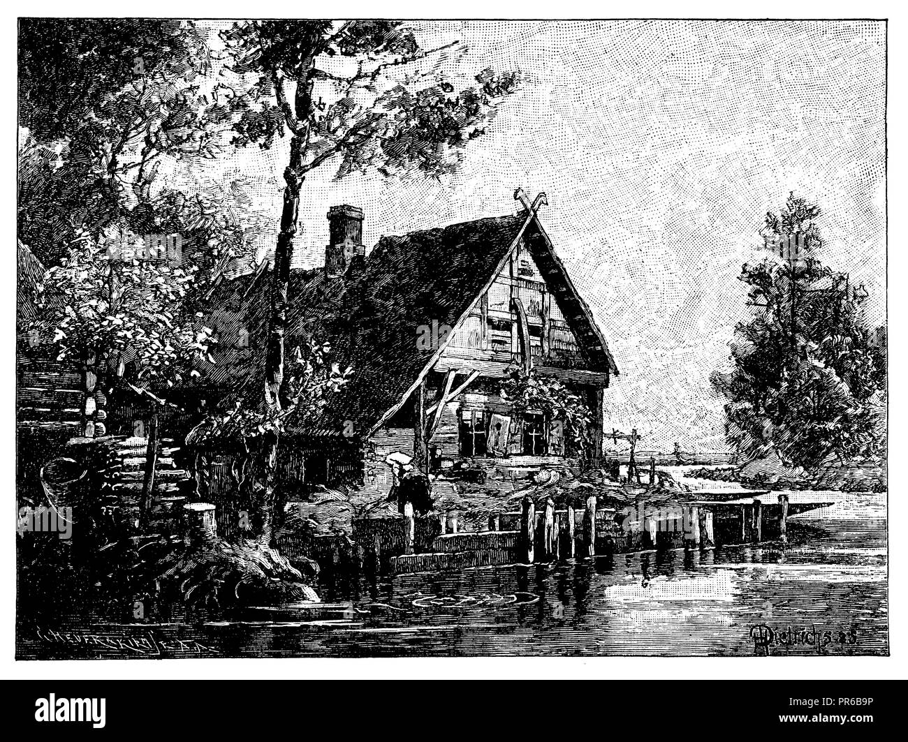 House in the Spreewald,   1897 - Stock Image