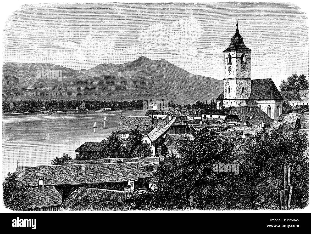 St. Wolfgang at the Abersee, - Stock Image