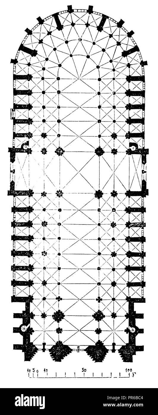 Notre Dame In Paris Floor Plan 1870 Stock Photo 220802180