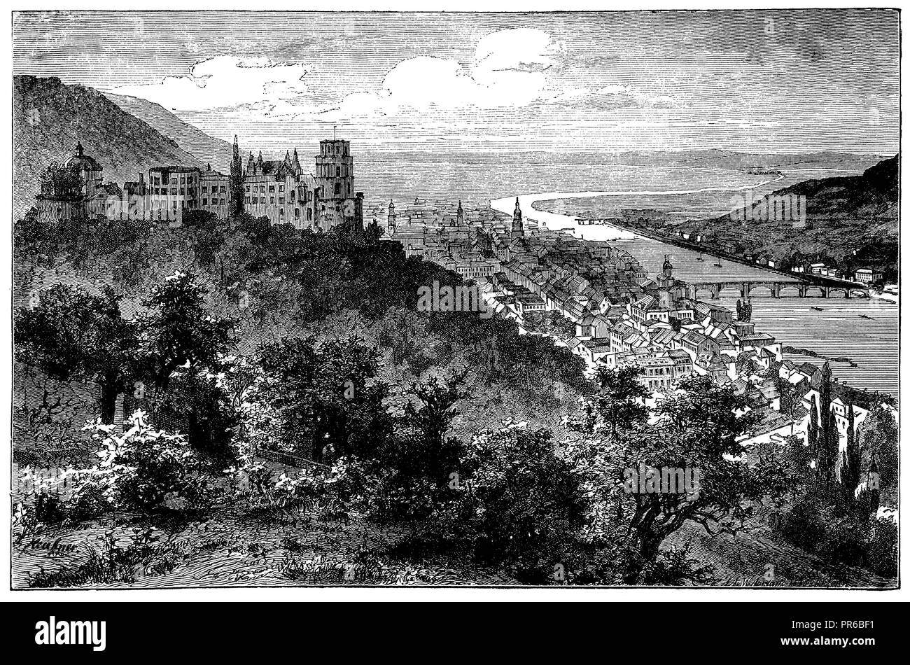 View of Heidelberg,   1892 - Stock Image