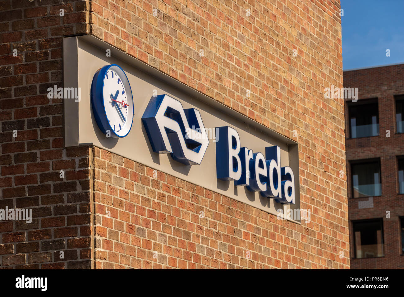 Breda, The Netherlands - September 29, 2018: Breda central station trade mark logo of Nederlandse spoorwegen NS - Stock Image