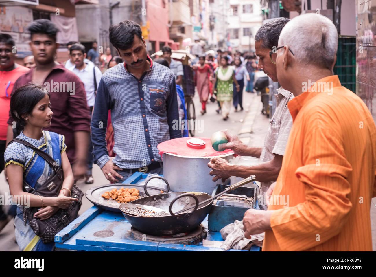 Kolkata,Street food,fast,hot,ready made, served, ,on road,to a Durga puja,Pandal,Kolkata,India. - Stock Image