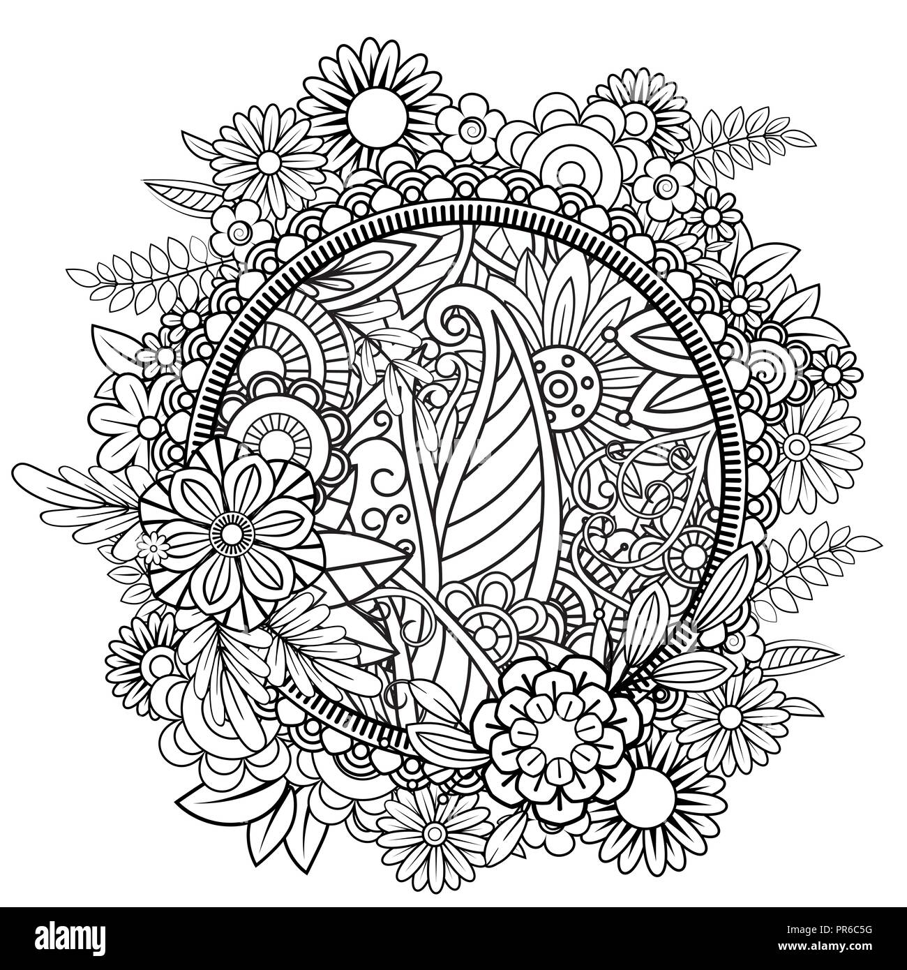 adult coloring page with flowers pattern black and white doodle wreath floral mandala bouquet line art vector illustration isolated on white background round design element PR6C5G