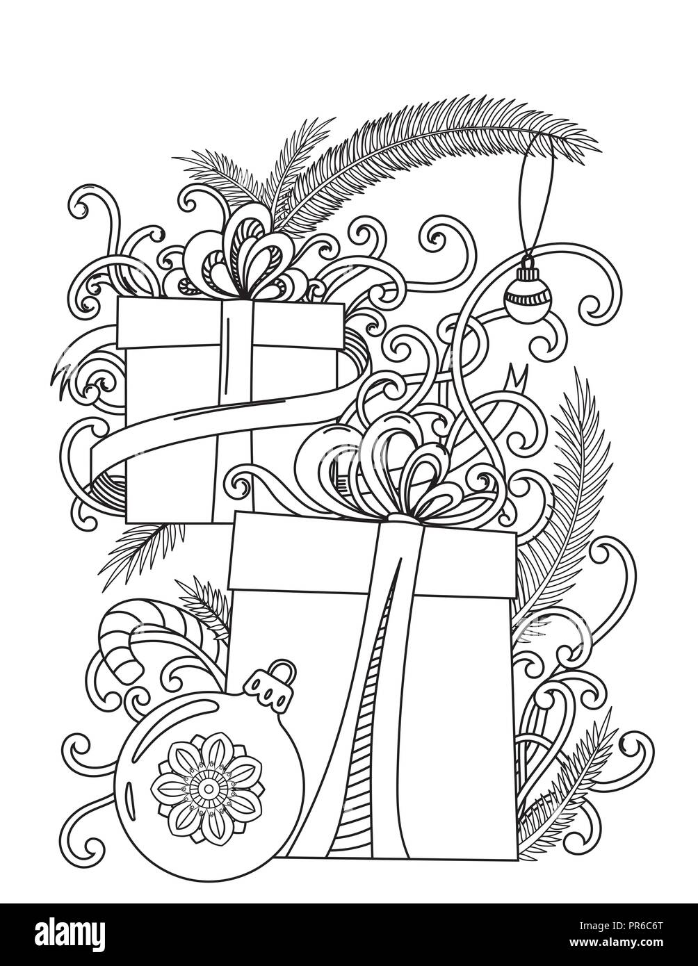 christmas coloring page adult coloring book holiday gifts and decore hand drawn vector illustration