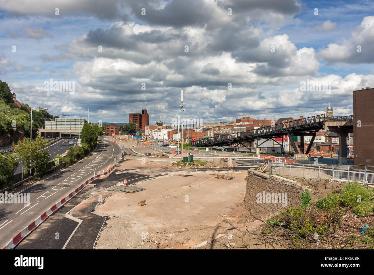 Stockport town centre in 2015, prior to the building of the Redrock centre - Stock Image
