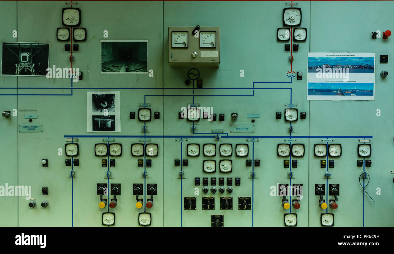 Old Electrical Panel Stock Photos Zinsco Fuse Box Control At Queensway Mersey Tunnel Building Liverpool Uk Image