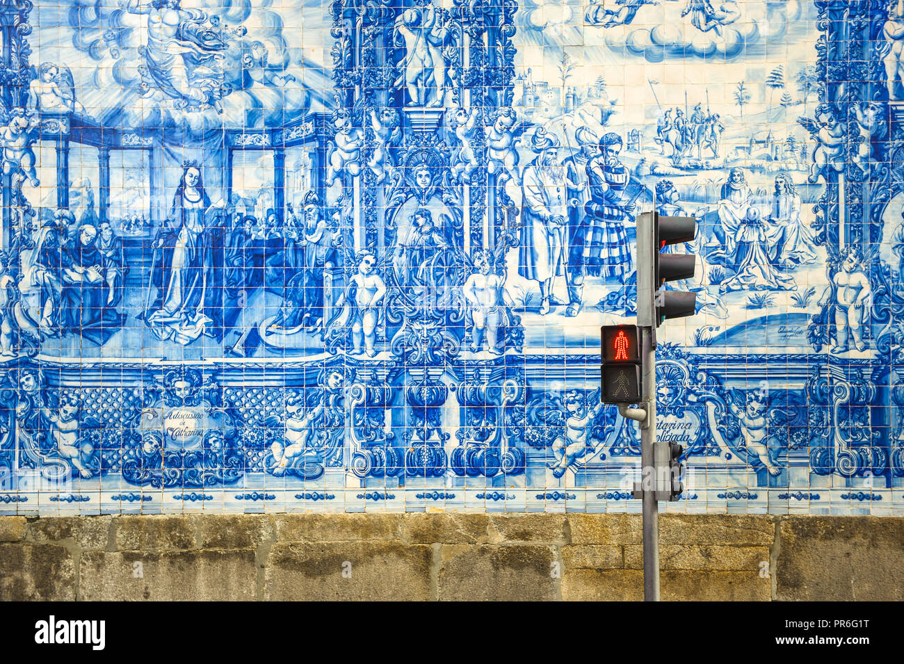 Street of Porto, decorated with azulejos tiles - Stock Image