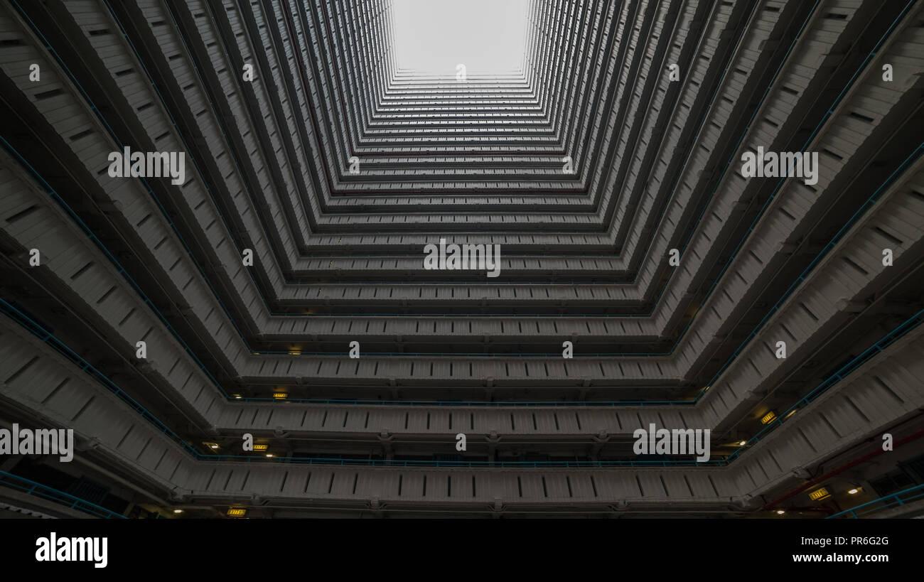Inside square building, Hong Kong, Ping Shek estate Stock Photo