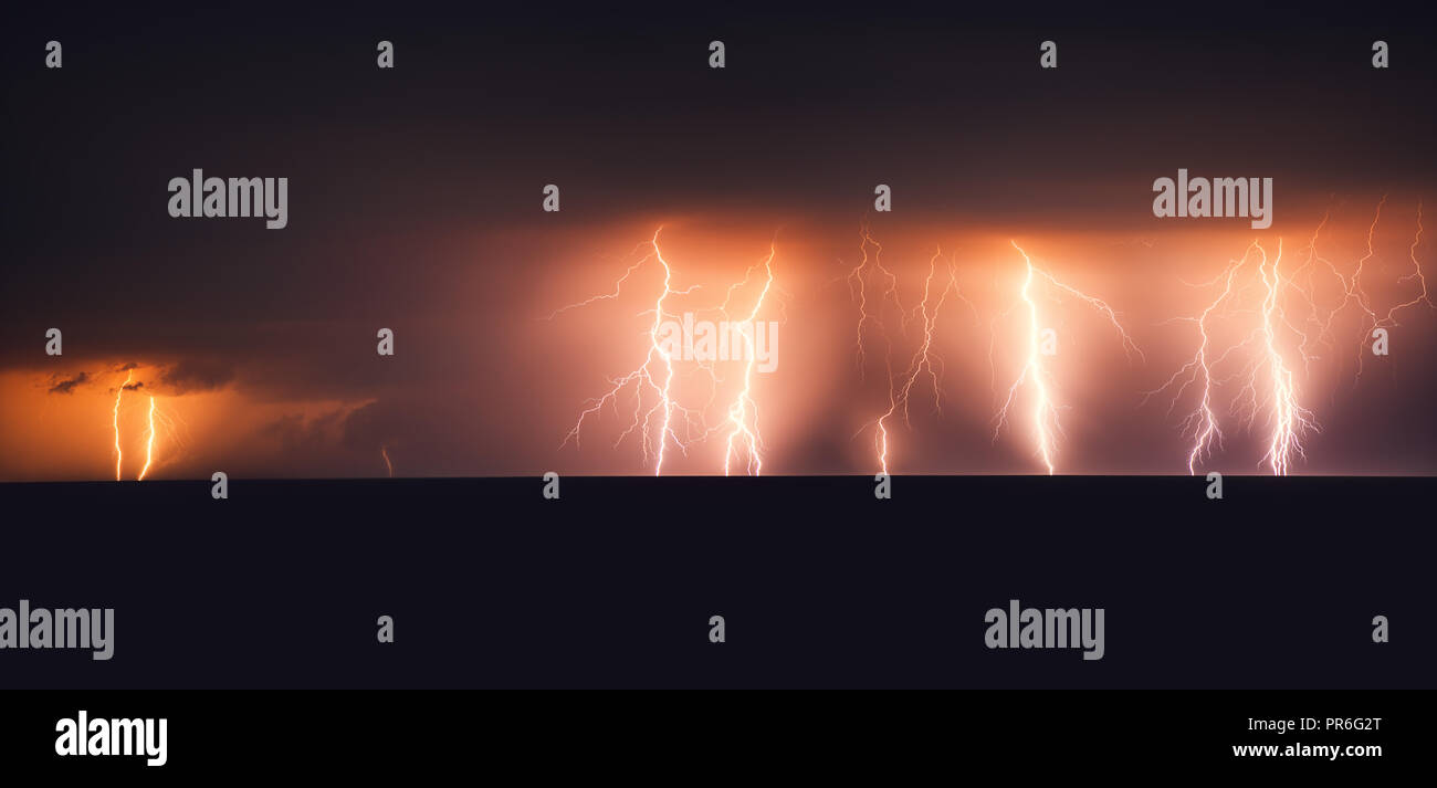 Lightning storm over Black sea. Stock Photo