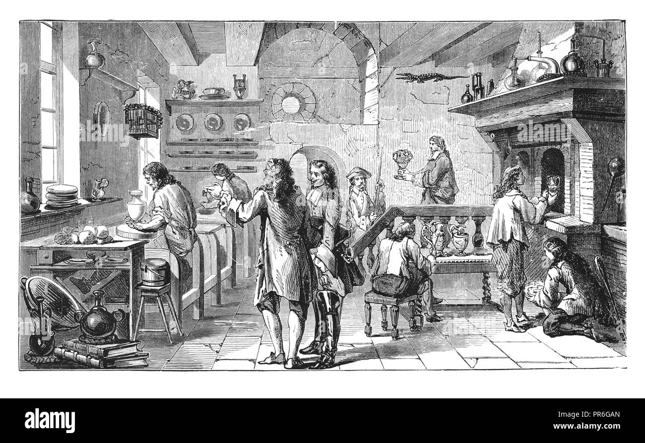19-th century illustration of the Bottger workshop in Albrehtsburg, Germany -  famous place where Meissen china (hard-paste porcelain) was manuctured  - Stock Image