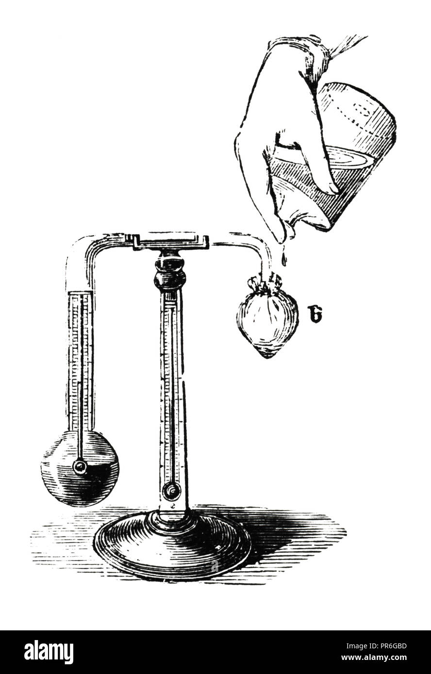 19-th century illustration of a hygrometer invented by John Daniell (1790-1845) an English chemist and physicist. Published in Novoveki Izumi u znanos - Stock Image