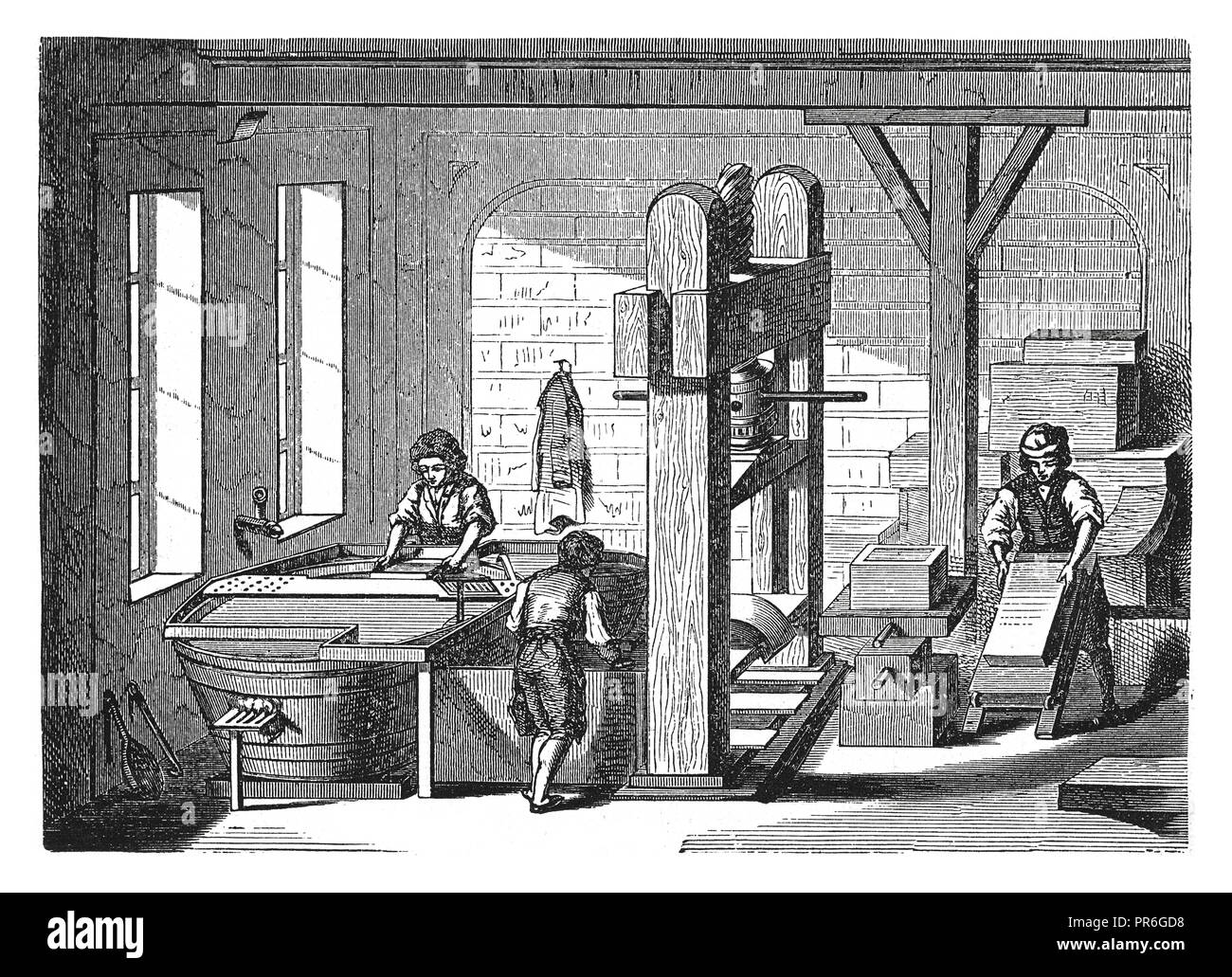 19-th century illustration of a process of manual paper making.Published in 'Novoveki Izumi u znanosti, obrtu i umjetnosti' by dr. Bogoslav Sulek, dr. - Stock Image