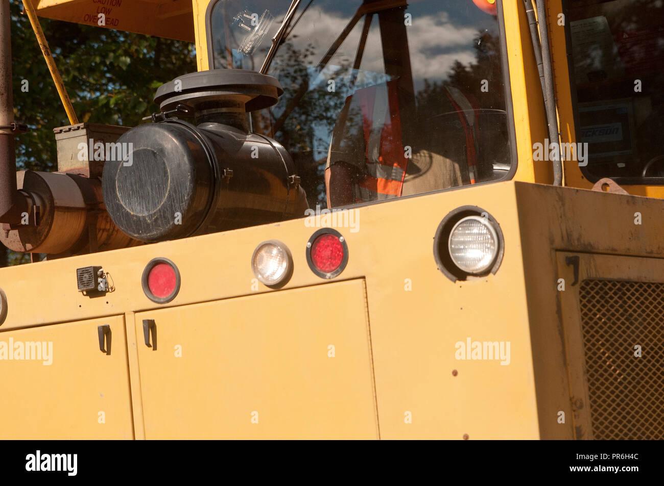 Yrllow train car Alaskan Railroad - Stock Image