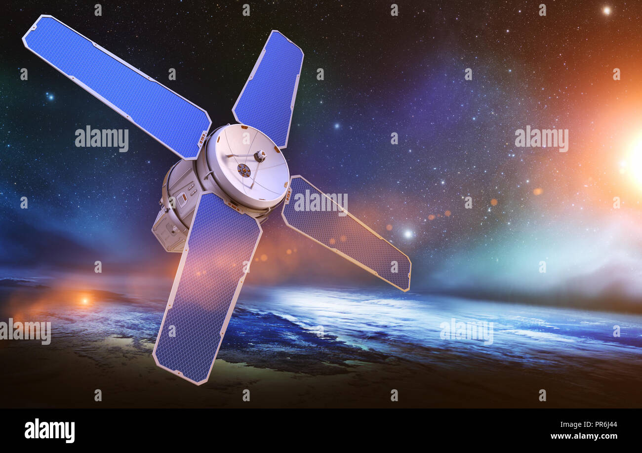 Sci-Fi sattellite on the orbit of the Earth. Elements of this image furnished by NASA . 3D illustration - Stock Image