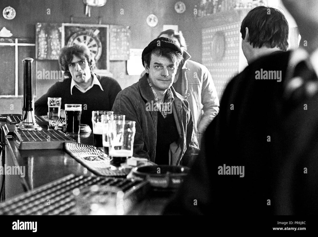 Working class men drinking in pub, Shildon, Durham, 1986 - Stock Image