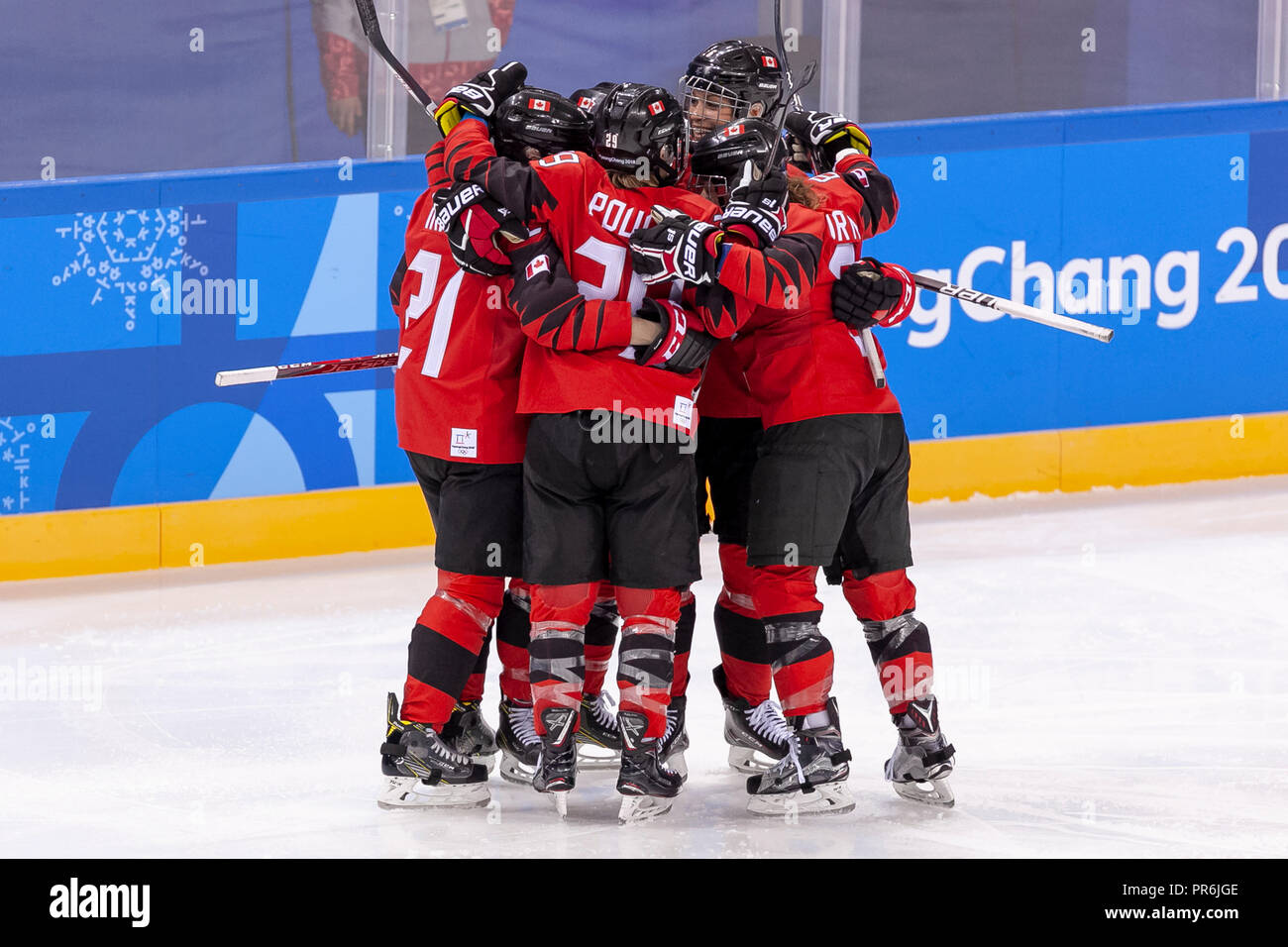Team Cananda celebrates goal vs Team OAR competing in Women's hockey at the Olympic Winter Games PyeongChang 2018 - Stock Image