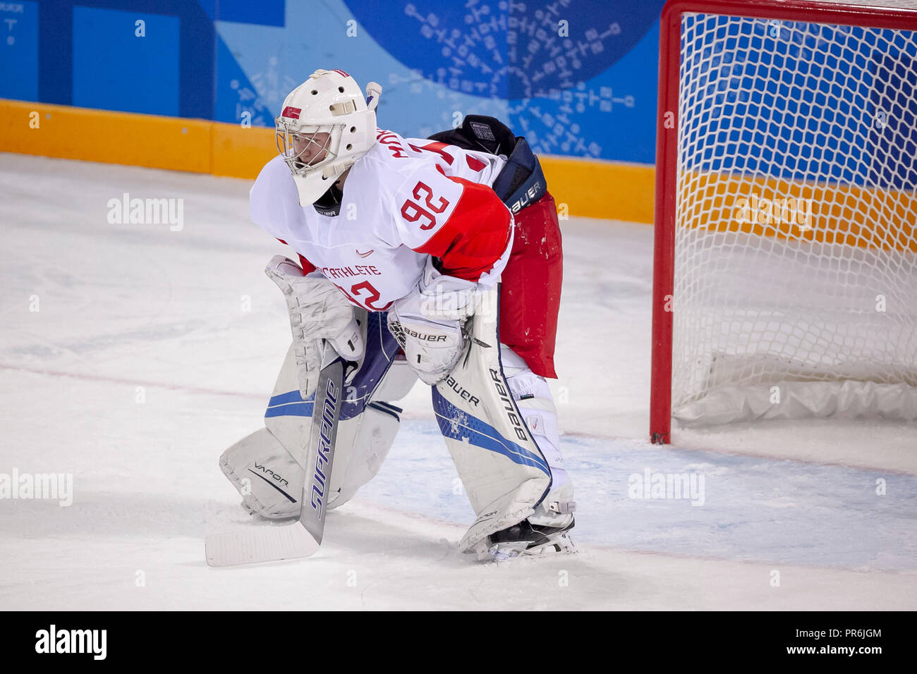 Goalie Nadezhda Morozova (OAR) during Team OAR vs Team Cananda competing in Women's hockey at the Olympic Winter Games PyeongChang 2018 - Stock Image