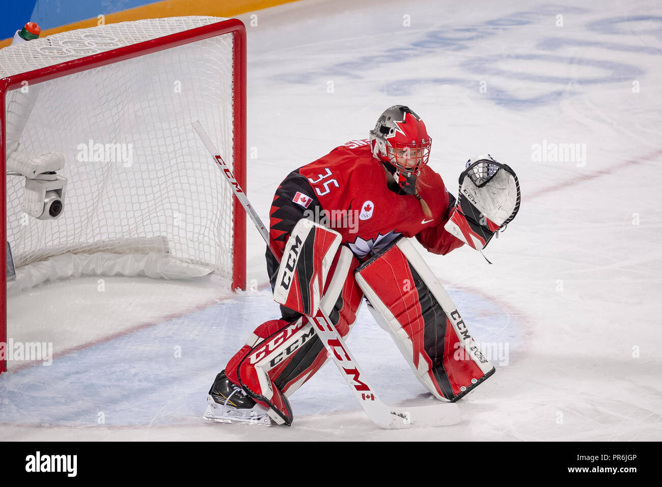 Goalie Ann-Renée Desbiens (CAN) during Team OAR vs Team Cananda competing in Women's hockey at the Olympic Winter Games PyeongChang 2018 - Stock Image
