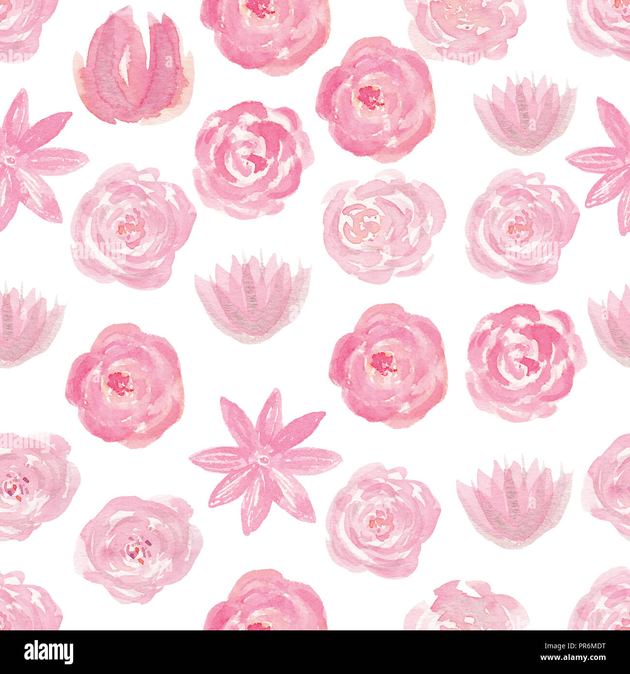 Watercolor Pink Seamless Pattern With Flowers Romantic Floral