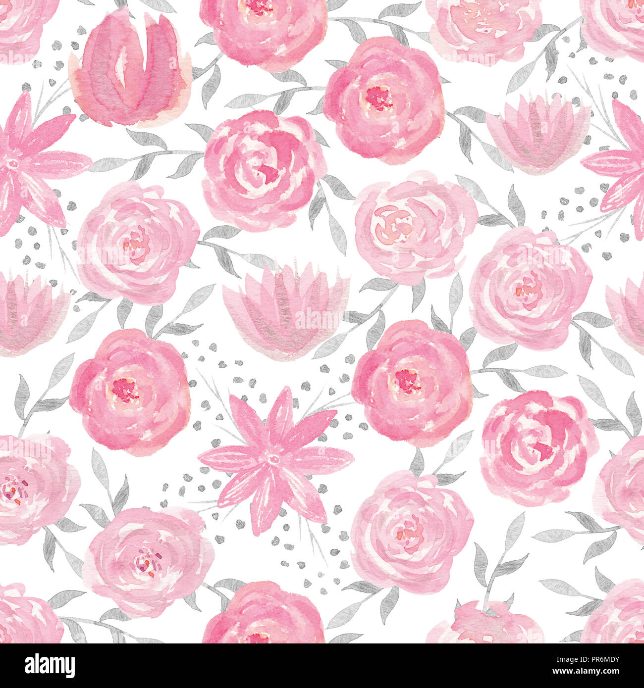Seamless Pattern With Hand Painted Watercolor Roses In Pastel Pink