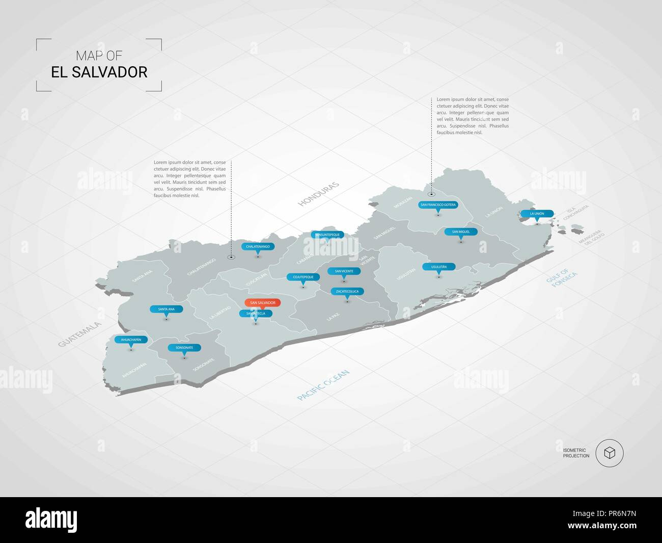 Isometric 3D El Salvador map. Stylized vector map illustration with on