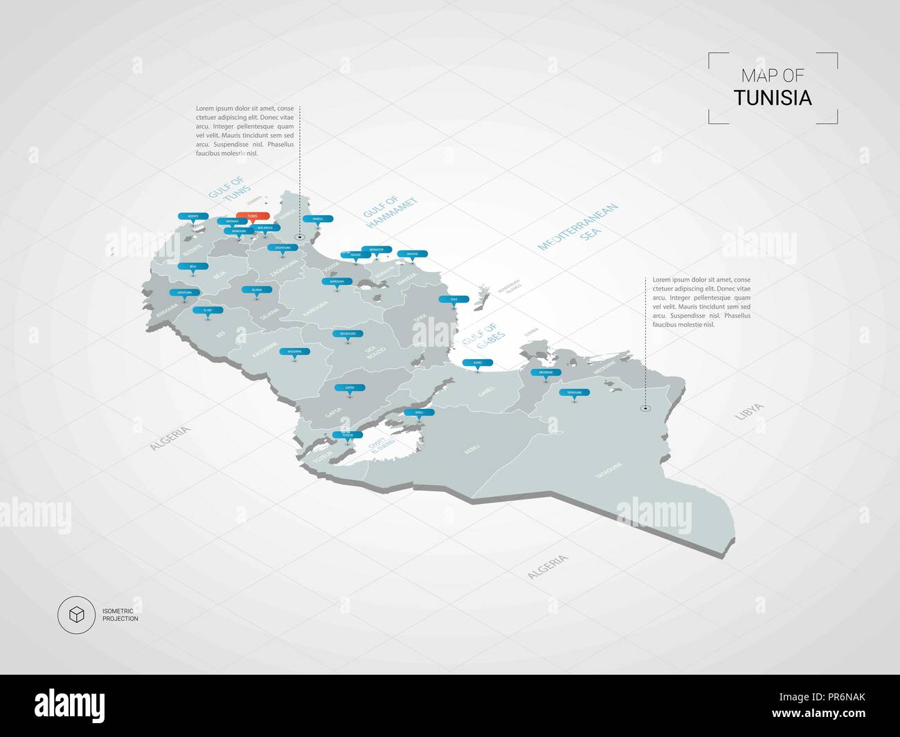 Isometric 3D Tunisia map. Stylized vector map illustration with ...