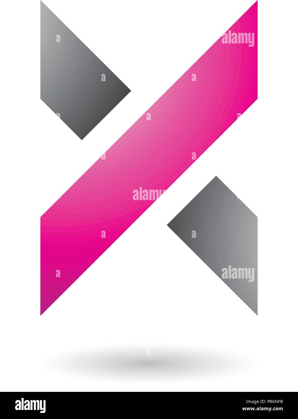 Vector Illustration of Magenta and Grey Thick Shaded Letter X isolated on a White Background - Stock Image