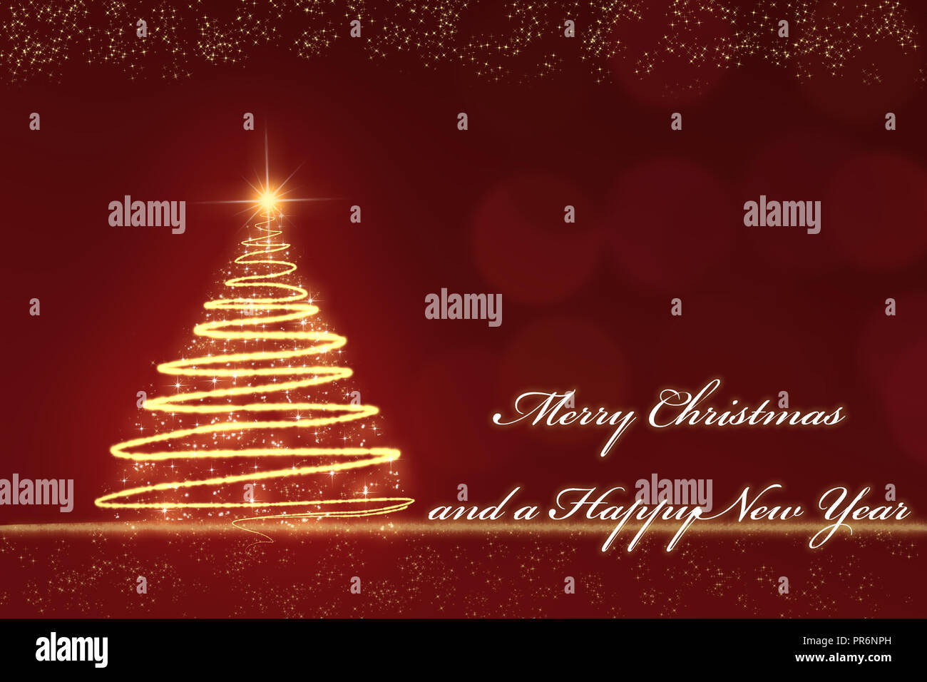 golden sparkling Christmas tree against a red blurred background with golden snowflakes and the text Merry Christmas and a Happy New Year - Stock Image
