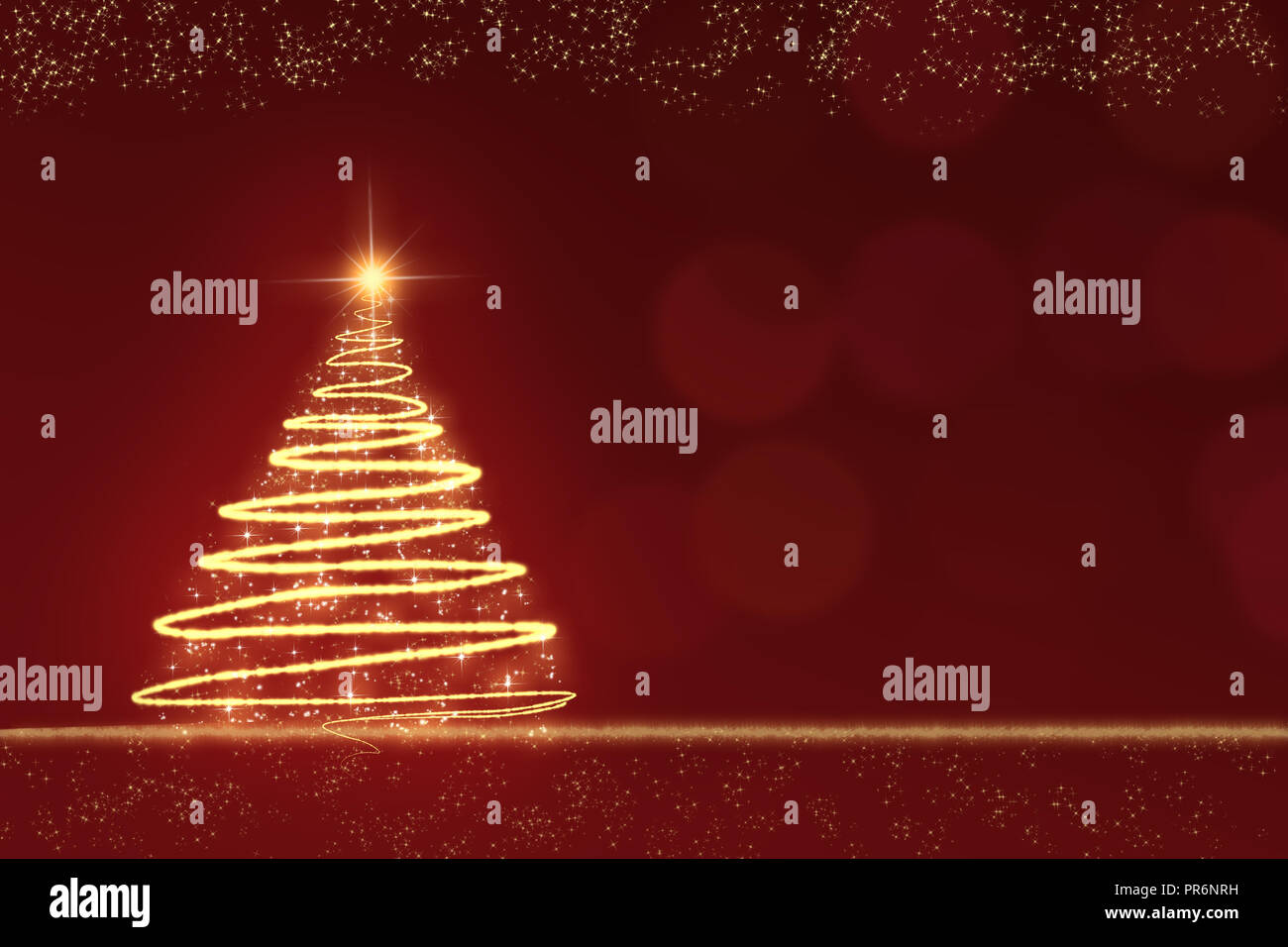 golden sparkling Christmas tree against a red blurred background with golden snowflakes - Stock Image