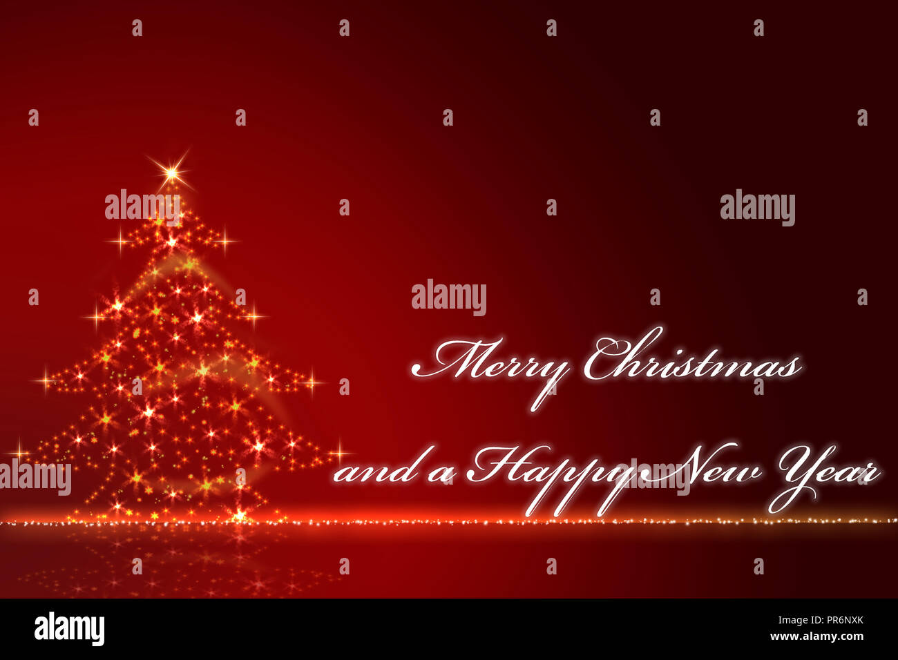 gold glittering Christmas tree against a red blurred background with the text Merry Christmas and a Happy New Year - Stock Image