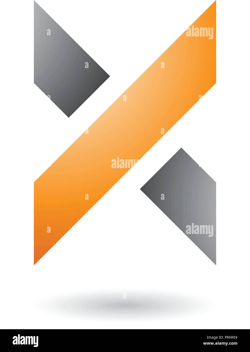 Vector Illustration of Orange and Grey Thick Shaded Letter X isolated on a White Background - Stock Image
