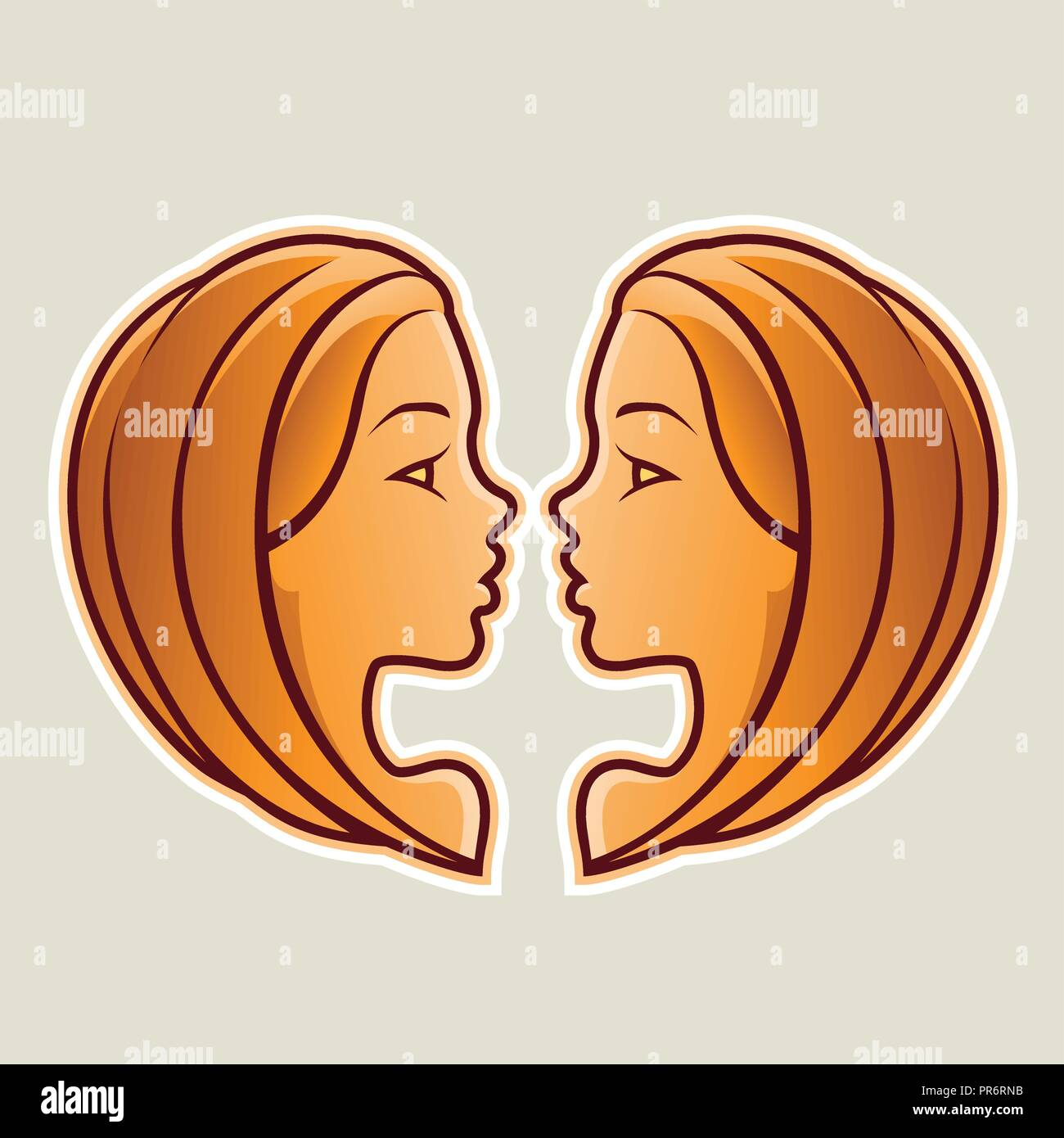Vector Illustration of Orange Gemini or Twins Icon isolated on a White Background Stock Vector