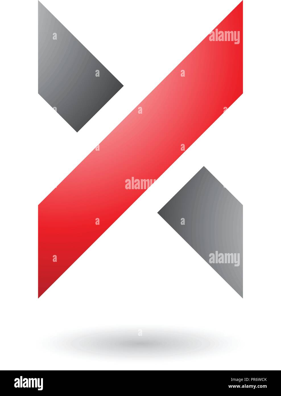 Vector Illustration of Red and Grey Thick Shaded Letter X isolated on a White Background - Stock Image