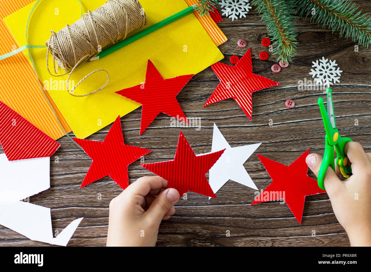 Christmas Tree Toys Handmade.The Child Cuts Out The Details Christmas Tree Toys Star Gift