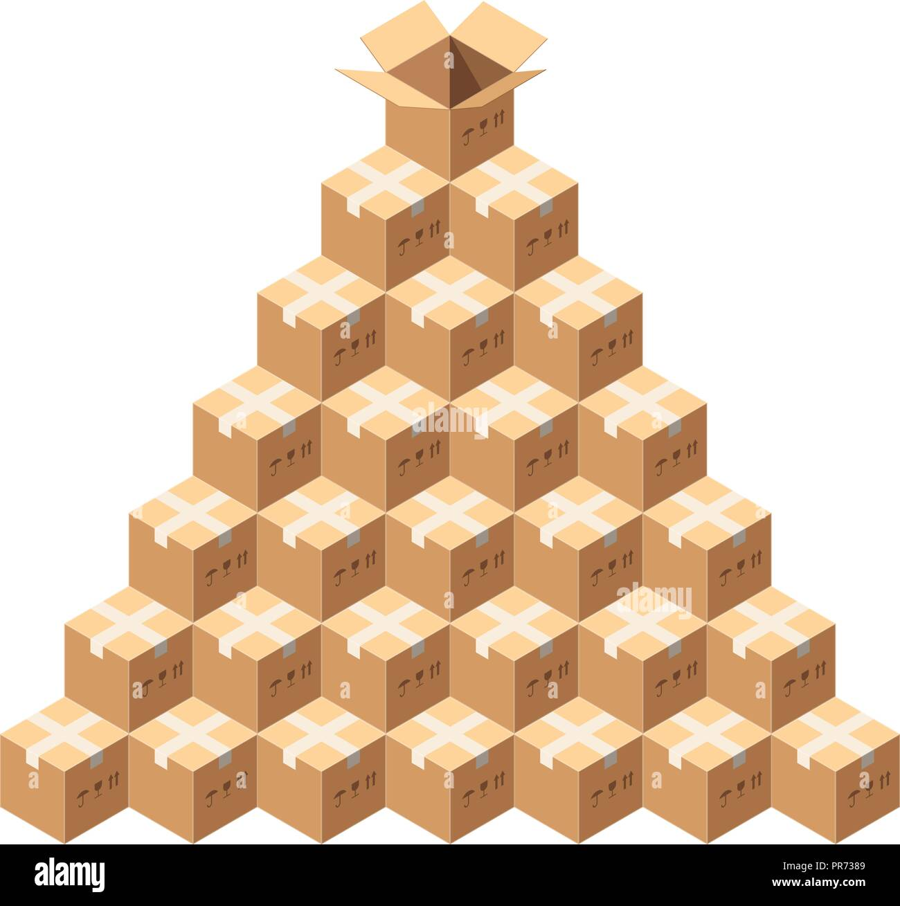 Isometric Vector Packages. Whole Pile of Taped Parcels. Pyramid of Cardboard Boxes Isolated on White. All Boxes are Sealed, One Uncovered Box at the Top. Postal Parcel Delivery Concept. - Stock Vector
