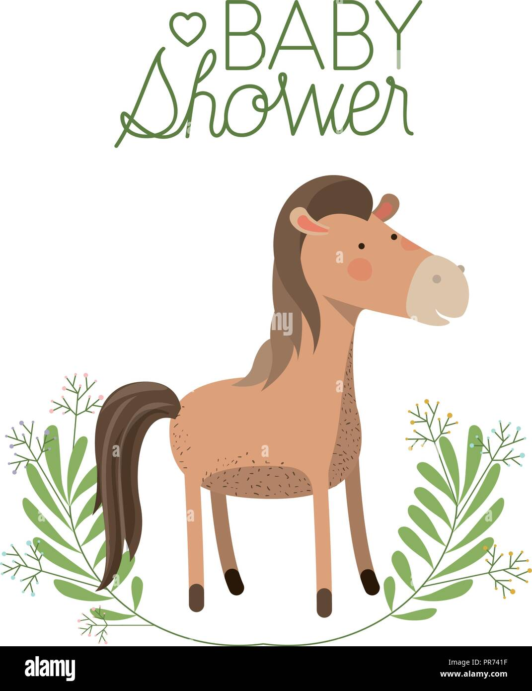 Cute Horse With Wreath Baby Shower Card Vector Illustration Design Stock Vector Image Art Alamy