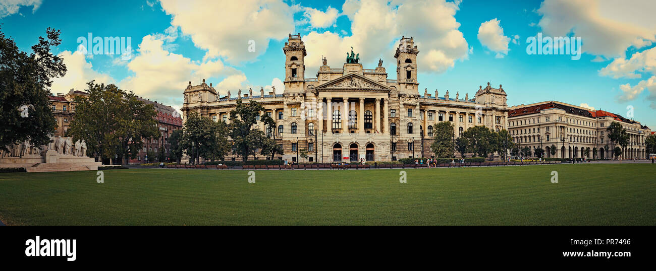 Hungarian National Museum of Ethnography, aka Neprajzi Muzeum, at Kossuth Lajos Square in Budapest, Hungary, Europe. Front view - Stock Image