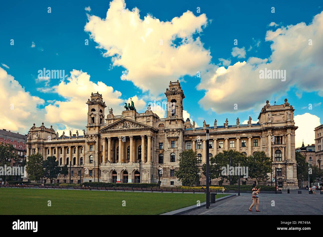 Hungarian National Museum of Ethnography, aka Neprajzi Muzeum, at Kossuth Lajos Square in Budapest, Hungary, Europe. Front view - Stock Image