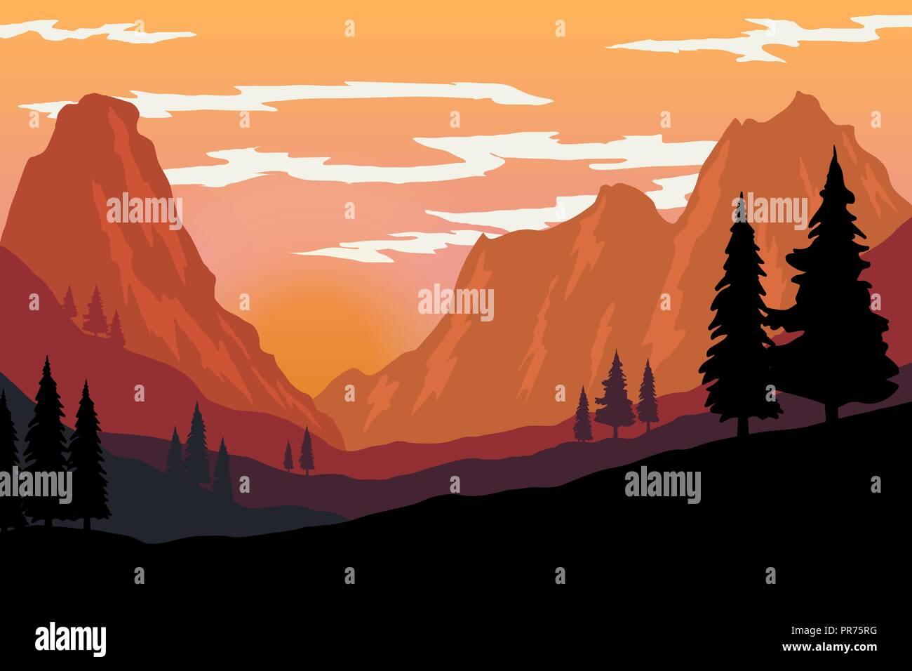Illustration Of Mountain Landscape In Flat Style Design Element For Poster Flyer Presentation Brochure Vector Image Stock Vector Image Art Alamy,Pink Baby Shower Nail Designs
