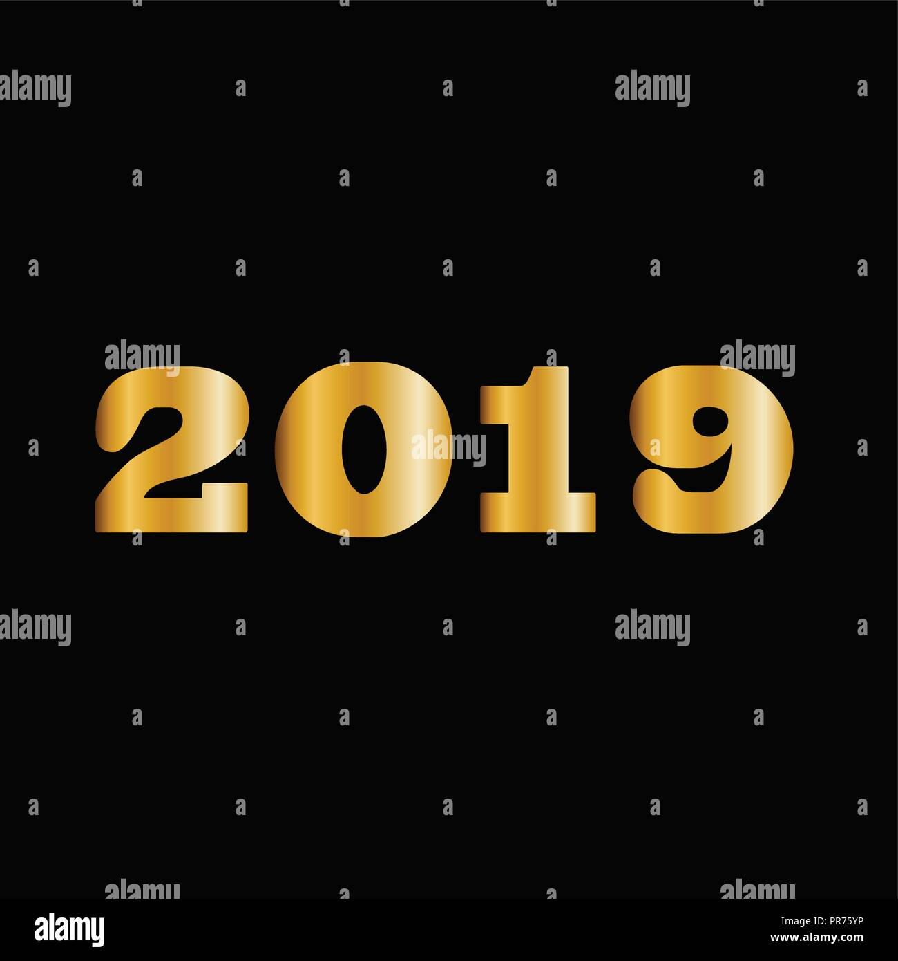 2019 happy new year golden numbers for greeting card design massive gold shining 2018 numbers isolated on black background vector illustration ele